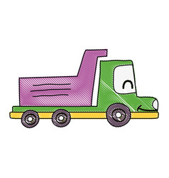 Grated kawaii smile dump truck industry vector