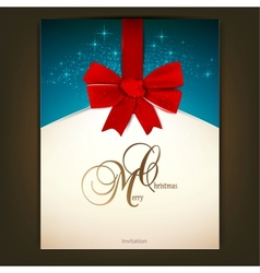 Greeting card with red bow and copy space vector image
