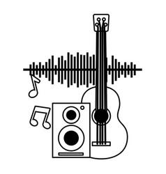 guitar speaker notes music festival on white vector image