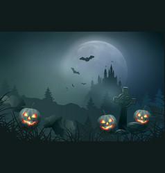 halloween night scene vector image vector image