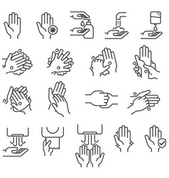 Hand washing steps icons vector
