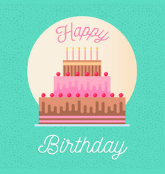 happy birthday greeting card with party cake vector image