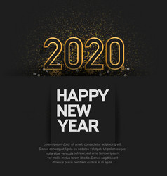 Happy new year 2020 golden color with glitter vector