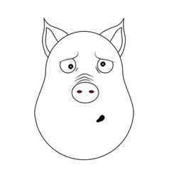 Head of clueless pig in outline style kawaii vector