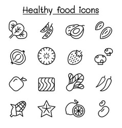 healthy food icon set in thin line style vector image