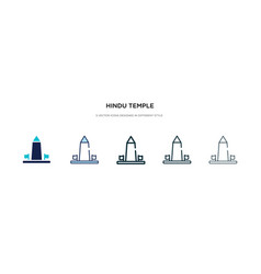 Hindu temple icon in different style two colored vector