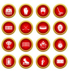 Hockey icon red circle set vector