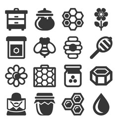 Honey icons set on white background vector