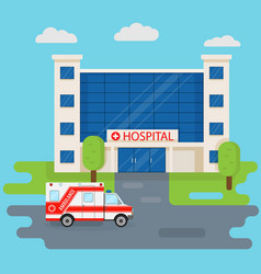 hospital building and ambulance car in flat style vector image