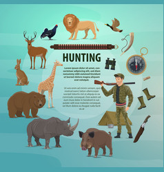 Hunting club open season safari poster vector