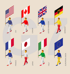 Isometric people with flags of group of seven g7 vector