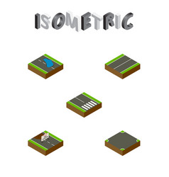 Isometric road set of plash plane pedestrian and vector