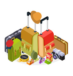 isometric travel luggage vector image