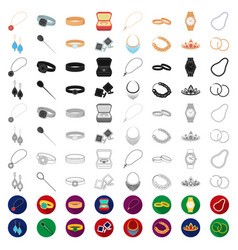 jewelry and accessories cartoon icons in set vector image
