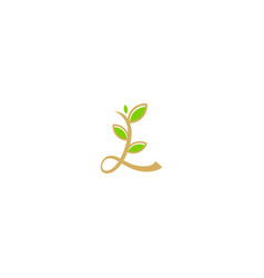 l initial leaf decorative logo vector image