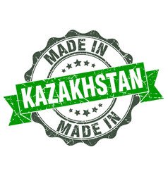 made in kazakhstan round seal vector image