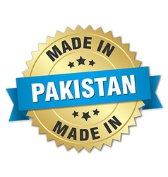 made in Pakistan gold badge with blue ribbon vector image