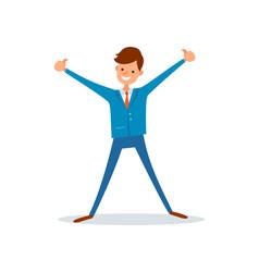 Man celebrating success successful businessman vector