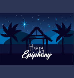 manger with palm tree and stars to happy epiphany vector image