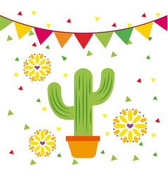 Mexican potted cactus flower and garland vector