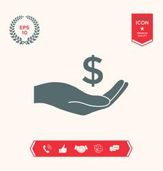 money in hand dollar symbol icon vector image