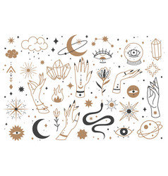 mystic line elements magic contour icons hand vector image