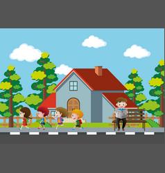 neighborhood scene with kids running on pavement vector image