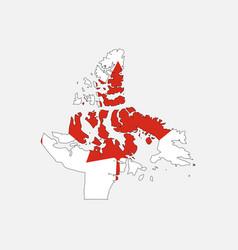 nunavut map on canadian flag vector image