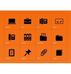 Office icons on orange background vector