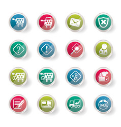 online shop icons over colored background vector image
