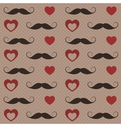 Pattern with mustaches and hearts vector image