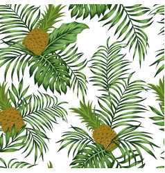pineapple green leaves white background seamless vector image