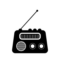 radio icon black media symbol speaker vector image