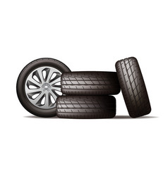 realistic new black car wheels stack four tires vector image