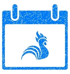 Rooster Calendar Day Grainy Texture Icon vector