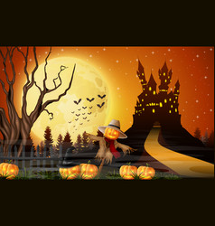 Scary castle with scarecrow and pumpkins full moo vector