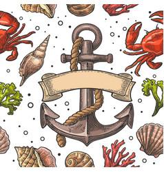 Seamless pattern sea shell coral crab and anchor vector