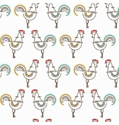 Seamless pattern with roosters in linear style vector image vector image