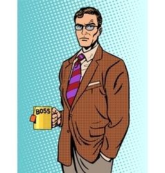 Serious businessman boss mug tea vector