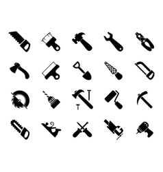 Set of black hand and power tools icons vector