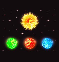 Set of planets in outer space with stars elements vector