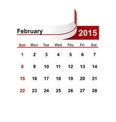 Simple calendar 2015 year february month vector