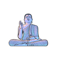 sketch buddha sitting statue isolated vector image