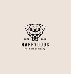 smiling pug dog smile hipster retro vintage vector image