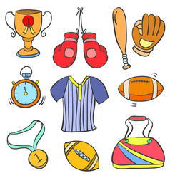 Sport equipment various doodle style vector