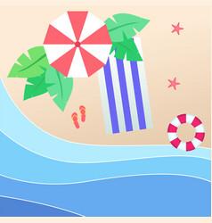 summer beach umbrella blue beach mat red swimming vector image