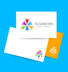 Teamwork people connect design template vector