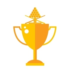 Trophy gold award cup flat icon vector image