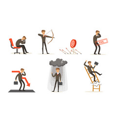 Unsuccessful businessman in suit and failures in vector