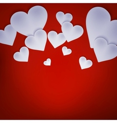 Valentine background with hearts on red EPS 10 vector image